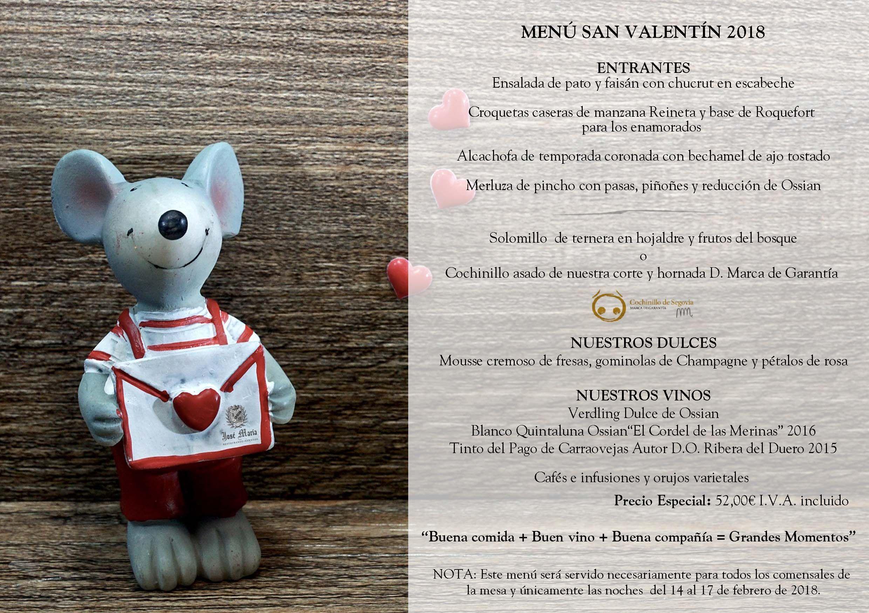 Menú de San Valentín 2018 en el restaurante José María