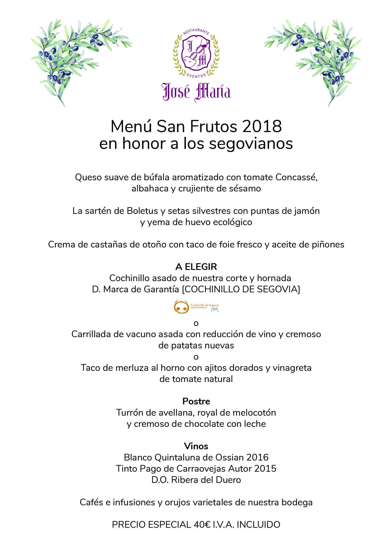 Menú de San Frutos 2018 del restaurante José María