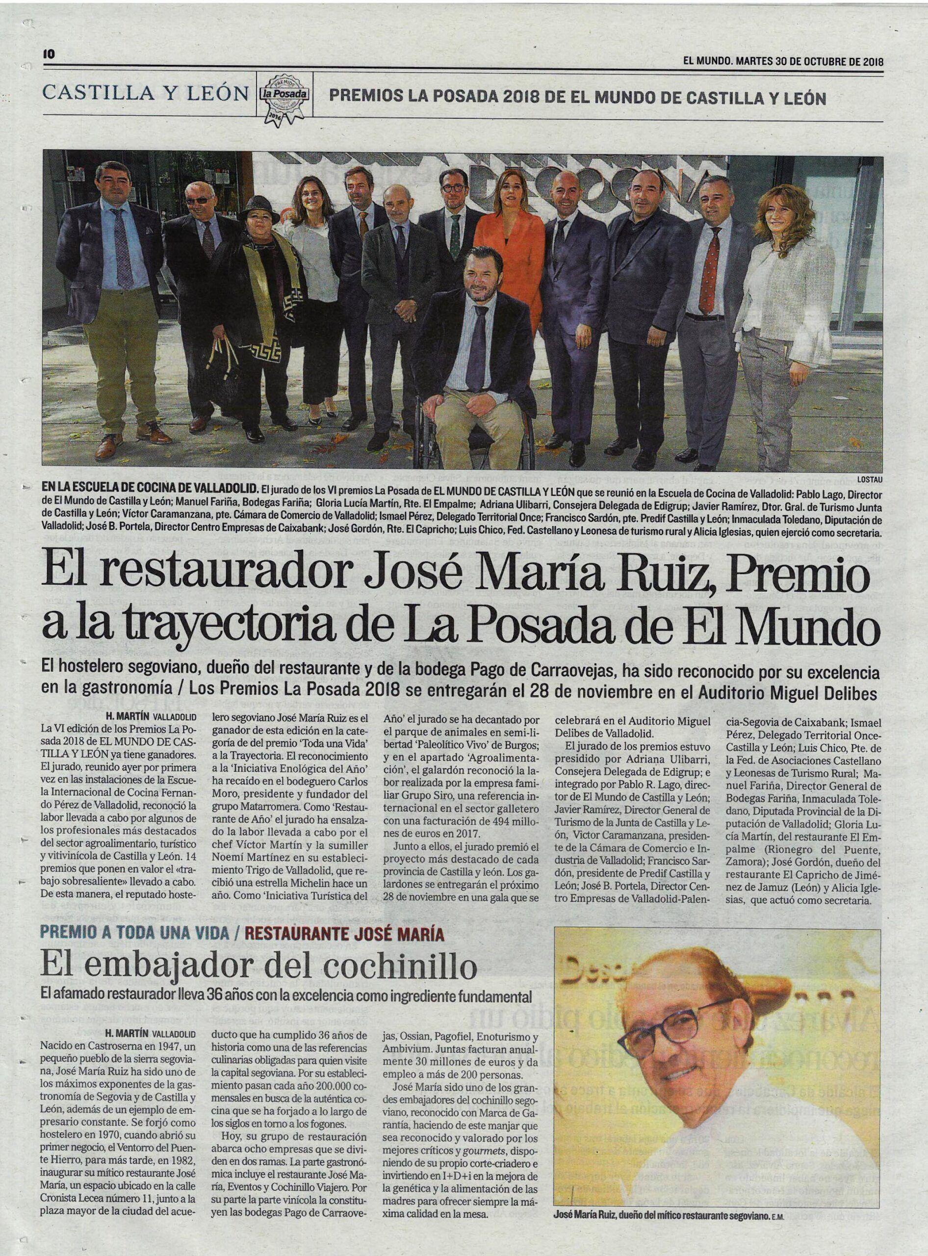 Nuestro presidente José María Ruiz Benito galardonado por los Premios La Posada del periódico El Mundo