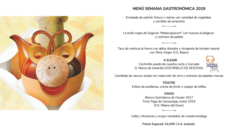 Menú XXVII Semana Cocina Segoviana 2019
