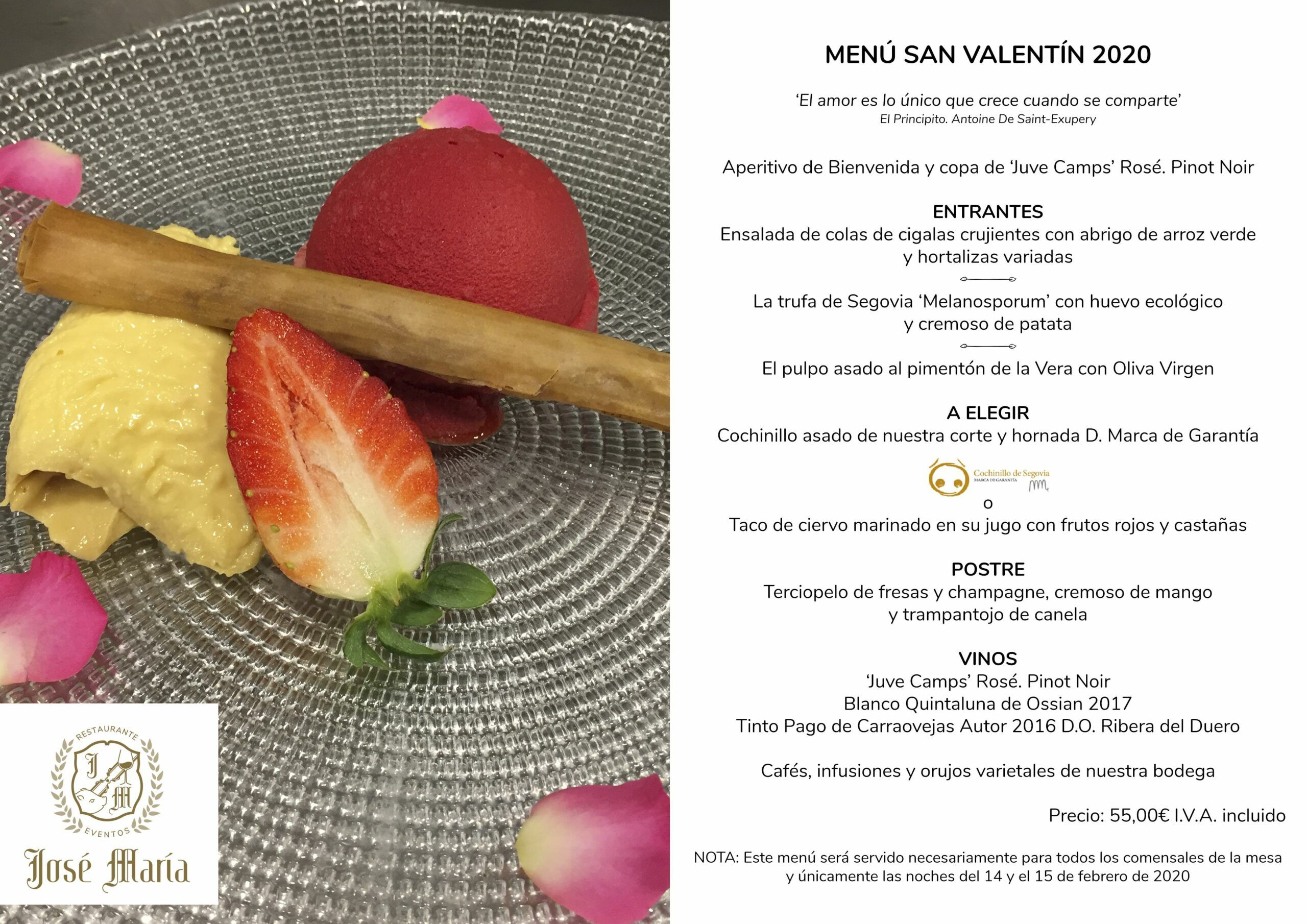 Menú San Valentín 2020